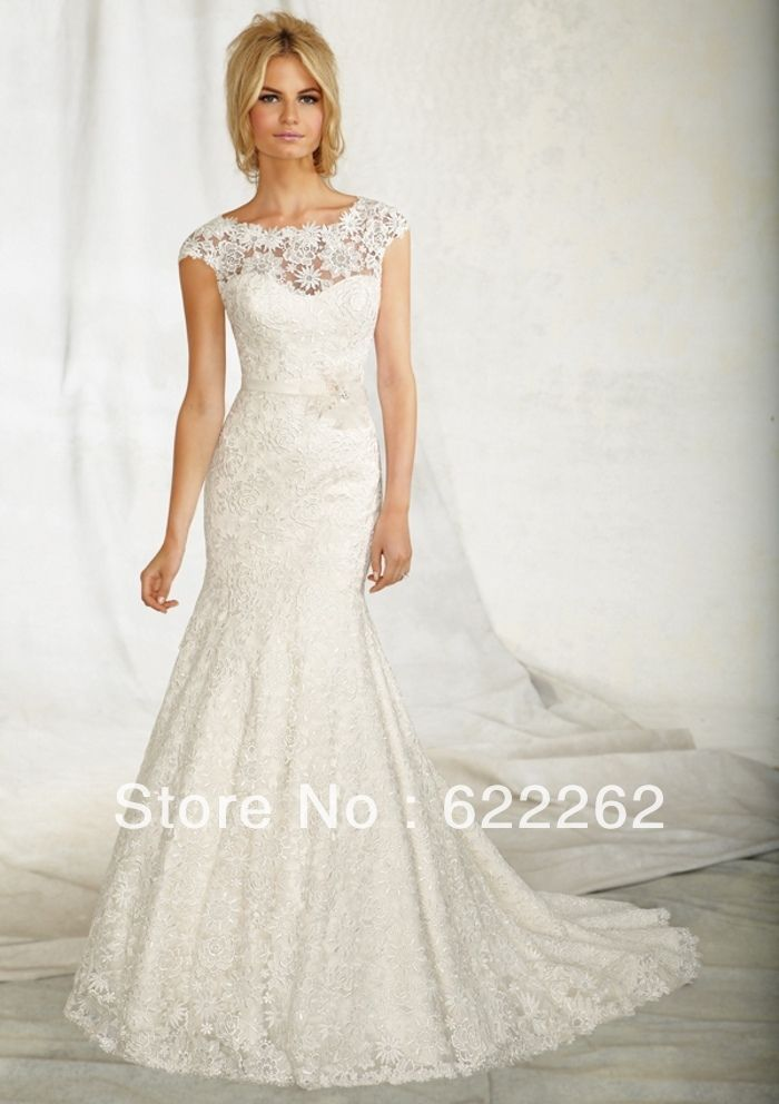 New arrival mermaid scoop sweep train white lace wedding dresses most popular low back wedding gowns new arrival