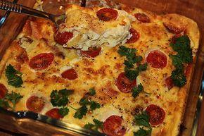 Omelett i ugn med skinka och halloumi – Kryddburken