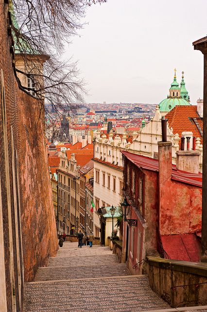 On the top of the stairs, Prague, Czech Republic.