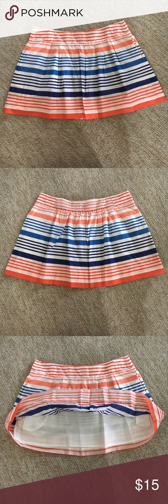 NWT AE Striped Skirt with Pockets New never been worn American Eagle cream linen skirt with orange, cobalt blue, & navy blue stripes. Has pockets! American Eagle Outfitters Skirts