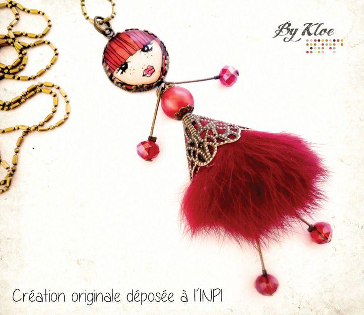Collier Sautoir • Ma petite poupée • n°5 rouge cabochon fourrure pompon perle verre cristal : Collier par bykloe