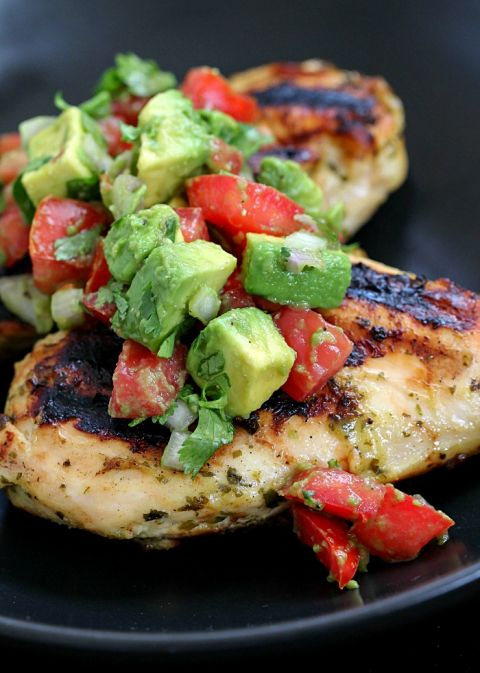 Marinated & Grilled Cilantro Lime Chicken with Avocado Salsa