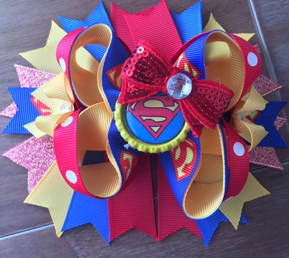 Superman Hair bow Superman bow Bottlecap hair by LucysChicBoutique