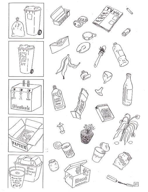 Het sorteren van afval