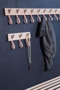 Garderobenleiste Holz/Leder Lang