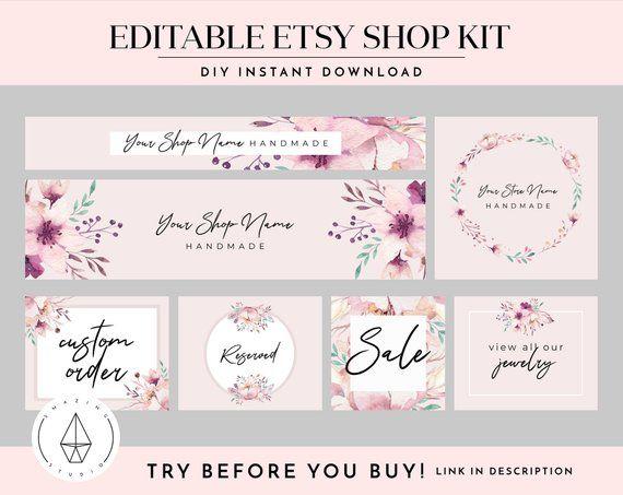 580e96bd0b647 Shop Banner Set, Etsy Shop Kit, Etsy Shop Graphics, Store Icon ...