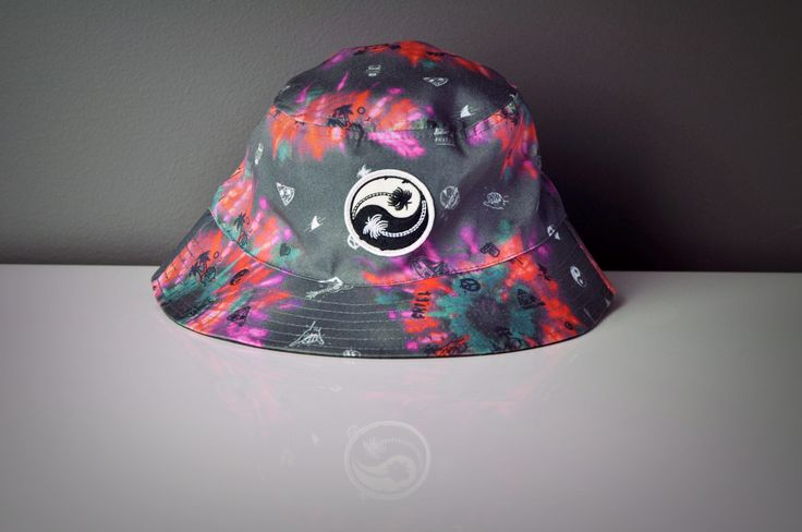 Reversible Tie Dye Bucket Hat Featuring Outer Sublimation Print and Inner Heavy Enzyme Wash