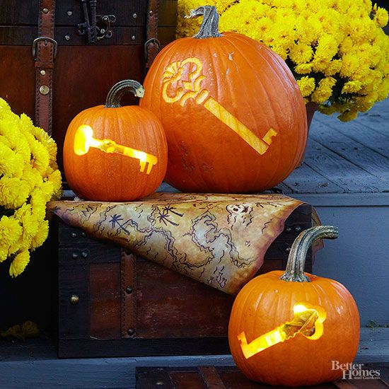 Both of-the-moment and vintage-inspired, these whimsical keys offer cool pumpkin carving inspiration for your seasonal decorating. Transfer the free patterns to your pumpkins and carve out the designs using a knife or carving tool./