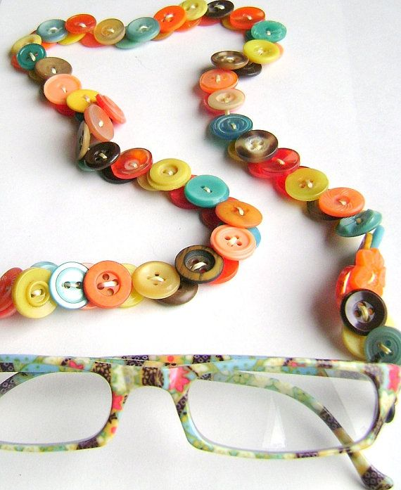 Eyeglass Chain in Vintage Buttons Turquoise and by MRSButtons on Etsy.