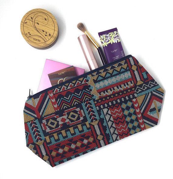 Large Bohemian Cosmetic Bag, Tribal Bag, Aztec Bag, Tribal Print Pouch, Toiletry Bags For Women, Travel Bag, Zipper Pouch, Large Makeup Bag