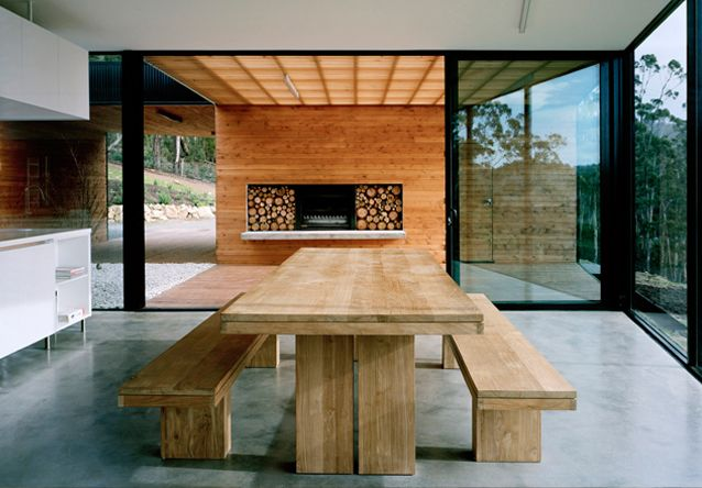 """I'm interested in this idea of the house being a veil through which you reinterpret or re-view the landscape."" I just love especially the kitchen bit of the house - looks like sort of a place where you can have productive brainstorming and be creative while eating/drinking :)"