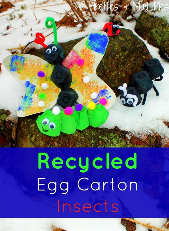 Cute recycled egg carton insects perfect for spring for How to recycle egg cartons