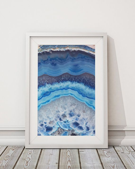 (Print #002) Blue Lace Agate Slice - Fine Art Print  This is a listing for the Print Only.   To Note: Some Sizes will Crop when printed  ➤ These Sizes