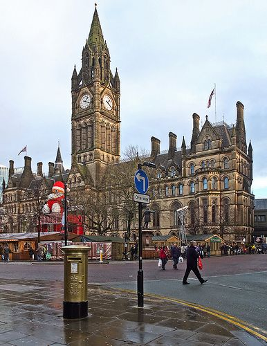 Philip Hindes' gold post box outside Manchester Town Hall