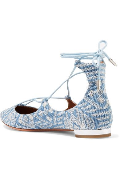 Aquazzura - Christy Embroidered Denim Point-toe Flats - Light denim - IT36.5