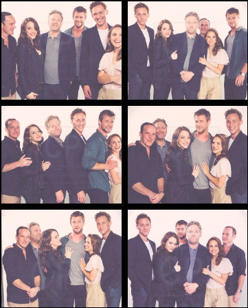 The Cast of Thor...I love how in the bottom left picture the girls are admiring Chris...I'd be in the back hugging Tom Hiddleston ;)