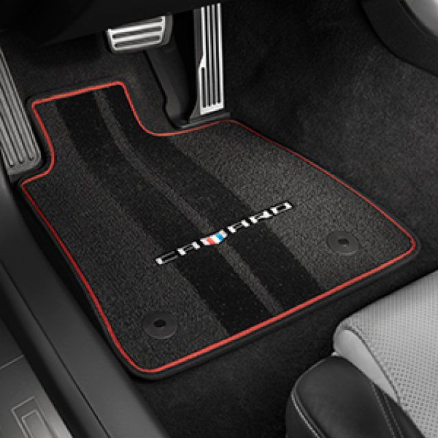Front And Rear Carpeted Floor Mats In Jet Black With Adrenaline