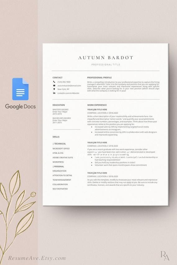 Professional Google Docs Resume Minimalistic Resume Template Etsy Resume Template Etsy Resume Template Nursing Resume Template