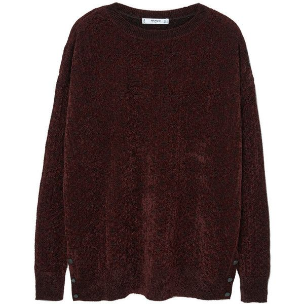 Velvet Sweater ($49) ❤ liked on Polyvore featuring tops, sweaters, red sweater, round top, red top, red long sleeve top and mango tops