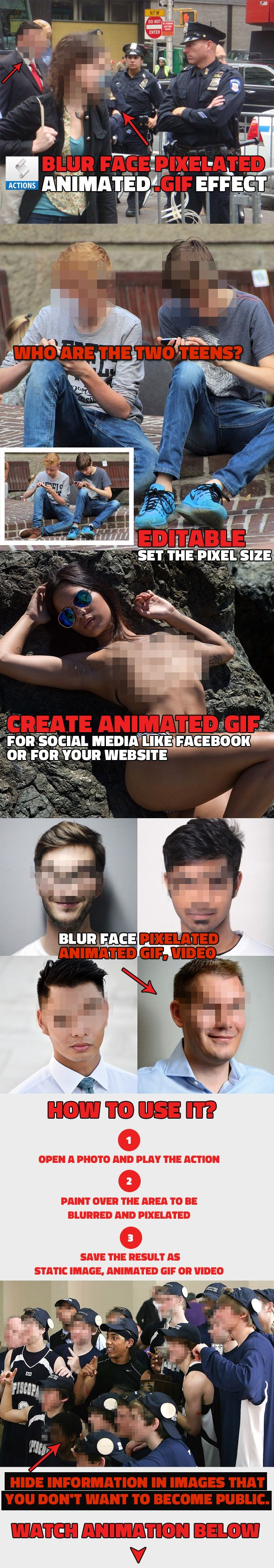 Animated Blur Face in Photo with Pixelated Effect Photoshop Action