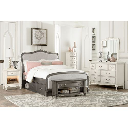 kensington antique silver katherine upholstered panel full bed with storage