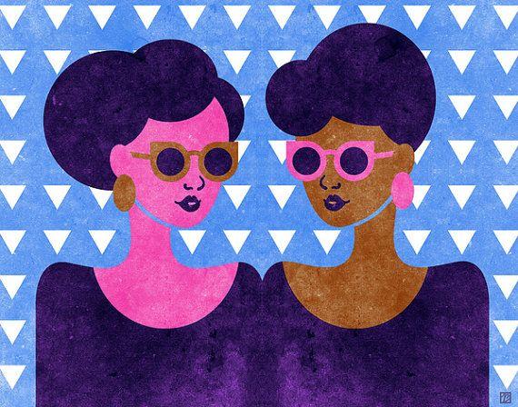 Ragazze in viola e gli occhiali da sole Art (Retro estate moda stampa afro-americana, anni 1960 ispirato donne capelli naturali) 5x7, 8x10, 11 x 14