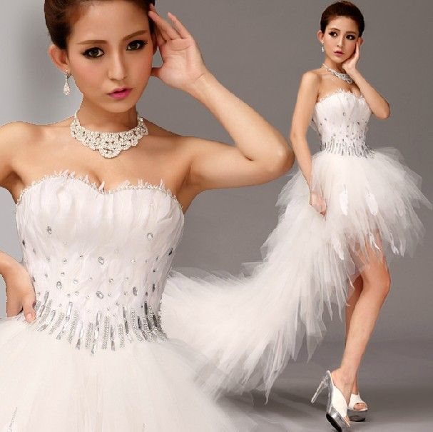 Organza Feather Evening Dress robe de soiree Sexy Crystal Strapless Hi Lo Formal Evening Prom Party Dresses high low ball gowns-in Evening Dresses from Weddings & Events on Aliexpress.com | Alibaba Group
