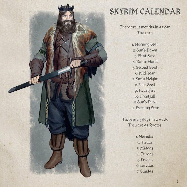 Skyrim calendar<<< Very helpful! It'd be cool to see if a year's gone by in your game.