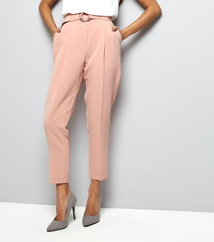 Petite - Pantalon slim rose à ceinture avec cercle | New Look