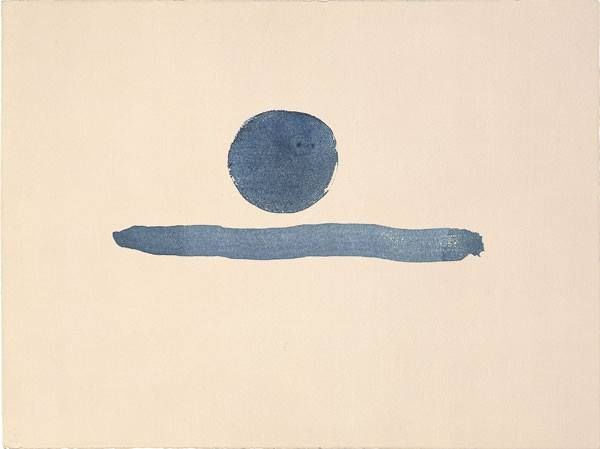 Untitled (abstraction blue circle and line), 1976-77-Georgia O'Keeffe