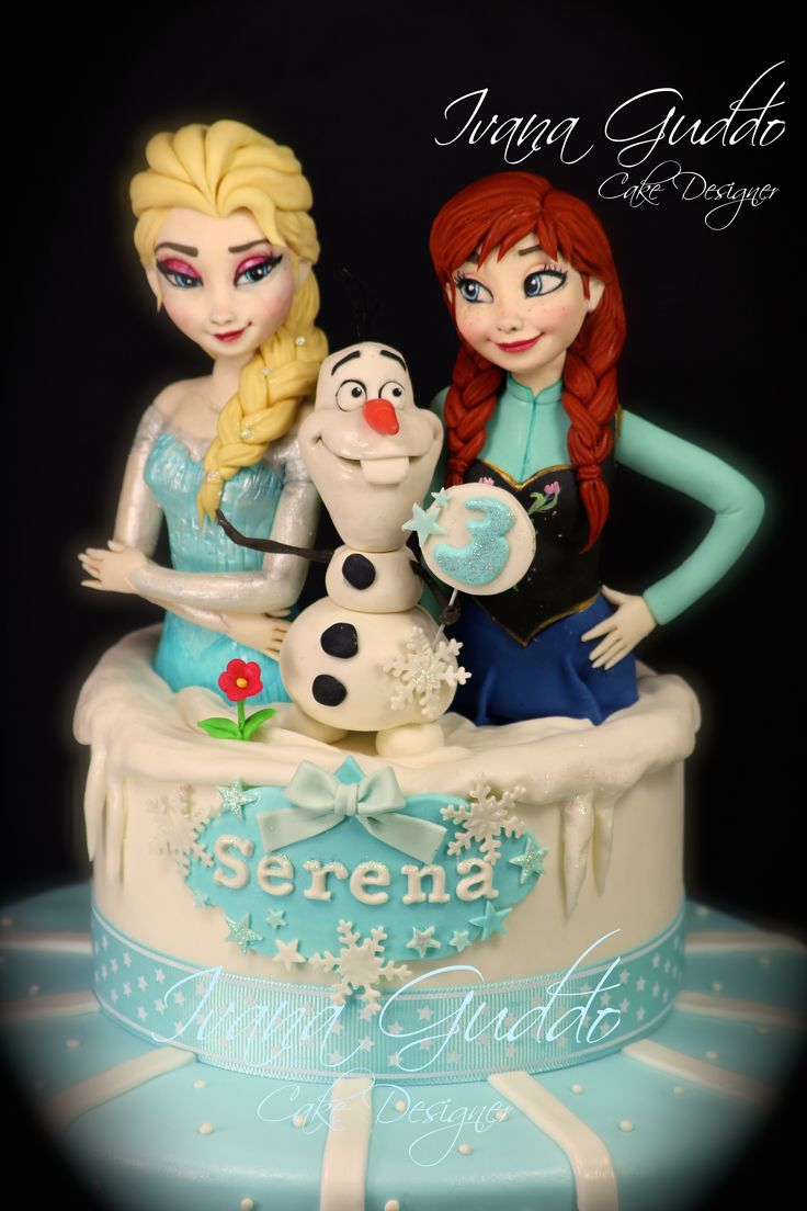 "Frozen cake ""Elsa, Anna and Olaf"" cake topper modelling. https://www.facebook.com/Torte-di-Ivana-Guddo-317176505051760/?ref=hl"
