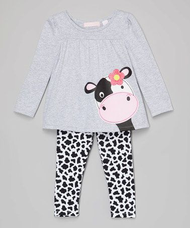 Look what I found on #zulily! Gray Cow Tunic & Leggings - Infant, Toddler & Girls #zulilyfinds