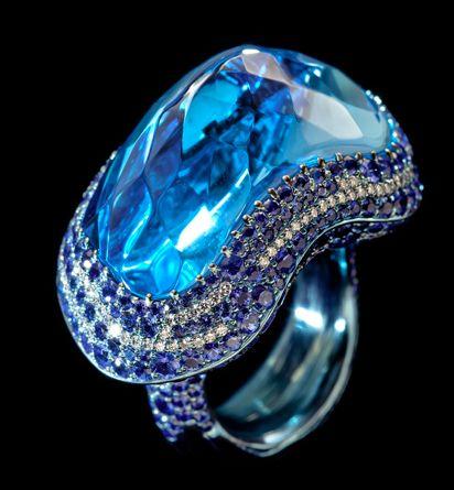 wallace chan anillo de alta joyería de diamantes de zafiro azul turmalina