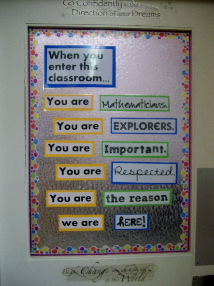 middle school Math Bulletin Boards | reused my door decoration from last year, but I added a cute polka ...