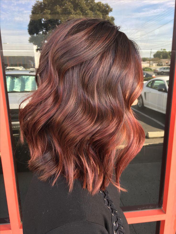 Red balayage hair, red hair, hairpainting, short haircut, lob, dark red haired, burgundy hair, mahogany hair, hairstyle, haircolor
