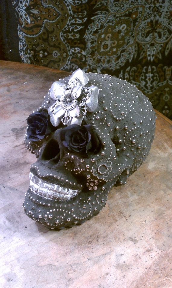"Life Size Mosaic Skull ""Hermosa Muerto"" at Anitasmosaics on Etsy - You can recreate this from the skulls at Spirit Halloween stores..."
