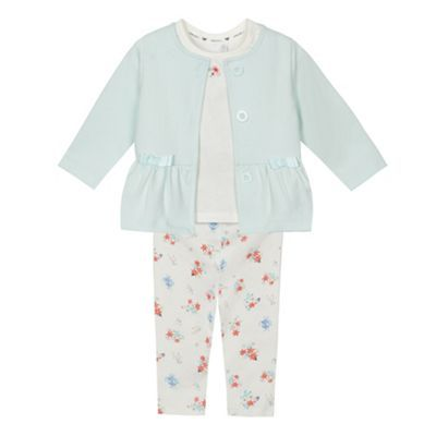 J by Jasper Conran Baby girls' aqua quilted jacket, t-shirt and leggings set | Debenhams