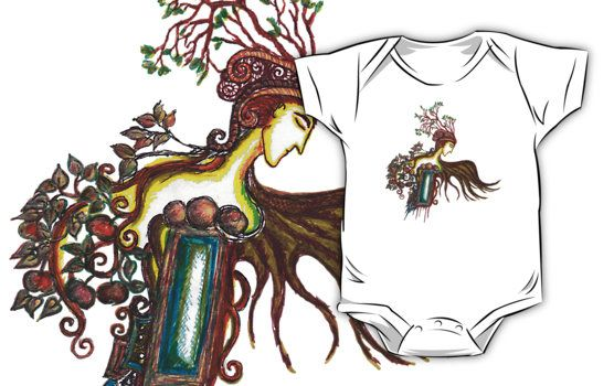Prince of Autumn baby clothes ( one-piece short sleeve) by Spring-fae  For baby elven princes and princesses  Traditional work – drawing with markers  Kids Clothes fantasy, fae, faery, elf, floral, ornamental, trails, mirkwood, tolkien, thranduil, mirror, apple, garden, forest, woodland, fruits, changeling, dryad, druid, druida, celtic, leafy, winged, leaves, crown, twigs, branches, nature, realm, sylvan, symbolist, symbolism, whimsical, magic, magical, spirals, fall, wing, wings, laptop…