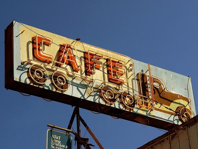 Vintage truck stop cafe sign..