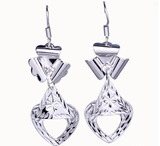 $3.97  55x18mm Charm Crystal Heart Dangle 925 Sterling Silver Earrings Hook Eardrop Jewelry #Eozy