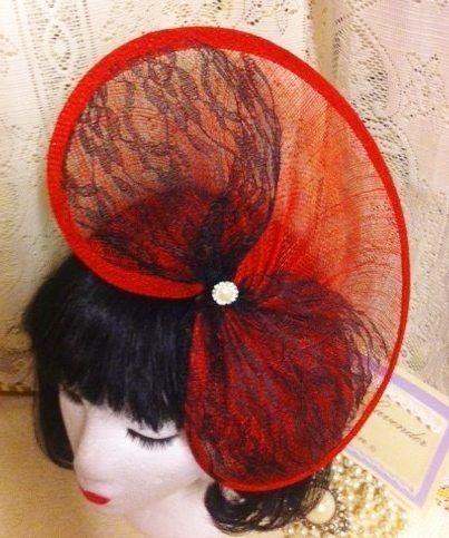 RED BLACK BOW HAT HEADPIECE FASCINATOR MOTHER OF THE BRIDE GROOM WEDDING RACES