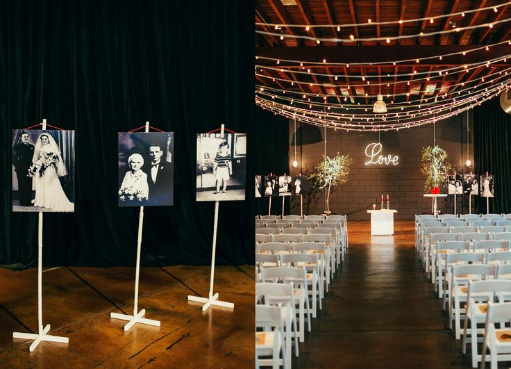 Real wedding : Chelsea & Pete at Lightspace, Brisbane.  Such a beautiful ceremony set up, with our neon love sign as the backdrop.