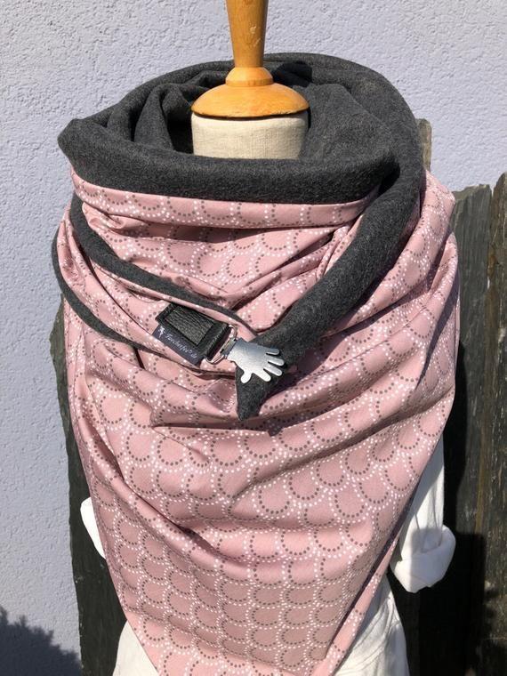 Tuecherfee Cuddly Xxl Cloth Triangular Cloth Old Rose Grey With Fleece And A Clasp Big Scarf Stole Triangular Cloth Xxl Schal Nahen Tuch Schnittmuster