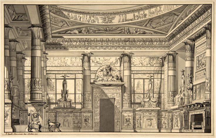 Design for an Egyptian revival interior, England in 2020