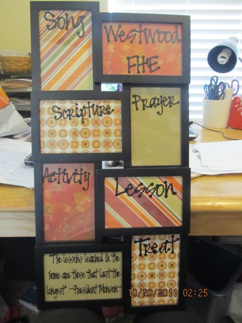 """Great way to use a photo collage for an FHE Board, then Use Dry Erase markers to write in the names of those """"in charge"""" of each item."""