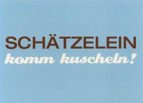 Lustige Postkarte: Schätzelein komm kuscheln