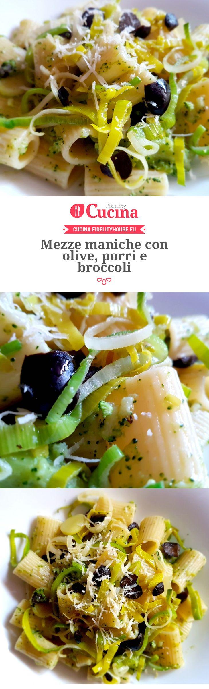 Mezze maniche con olive, porri e broccoli