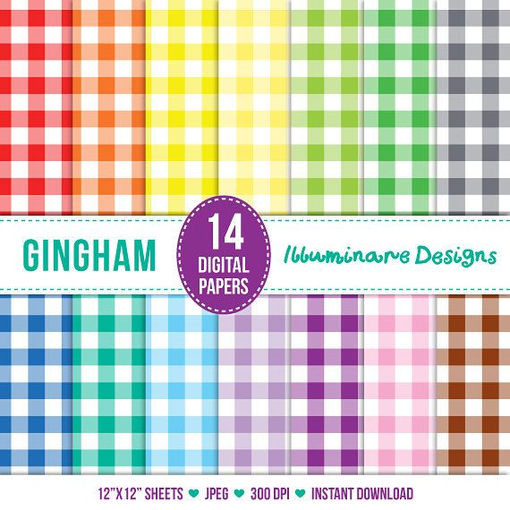 Gingham Digital Paper: Digital Scrapbook Paper Pack - Gingham Paper Variety Pack - Commercial Use OK