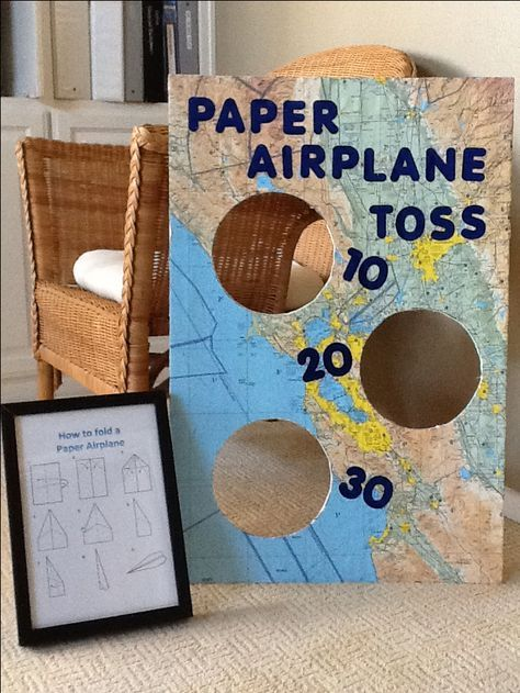 Party Game. An old navigation map glued to foam board with letter cutouts. Add construction paper to make the airplanes and the game is complete. Using glue, a picture frame and a map I already had, the entire project cost only $3.00! Definitely within the party planning budget. I purchased the construction paper, letters, and foam board at the .99 cent store. Super easy and inexpensive.