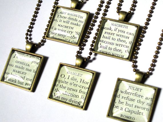 I WANT!!!!!! Putting this on my Xmas wish list. Book Fetish: Volume XLVI | BOOK RIOT: Handmade Shakespeare, Hands Mad Romeo, Bridesmaid Necklaces, 50 00, Bookish Stores, Bookish Stuff, Shakespeare Necklaces, Christmas Gifts, Handmade Necklaces